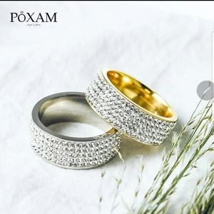 New modern white Crystal silver/gold Plated ring